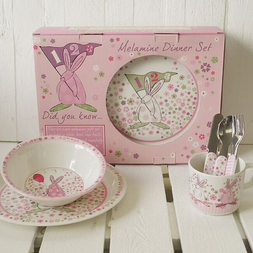 Rufus Rabbit 6 Piece Dinner Set - Girl (Box & Contents)
