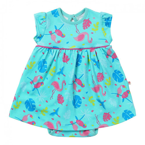 Piccalilly Organic Cotton Tropical Print Baby Dress