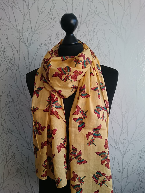 Dragonfly and Butterfly Print Scarf
