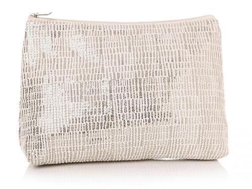 Sequin Cream Cosmetic/Toiletries Bag