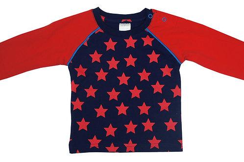 Navy Raglan Red Star Top