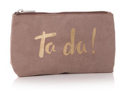 Ta Da Gold/Beige Cosmetic Bag (Front View)