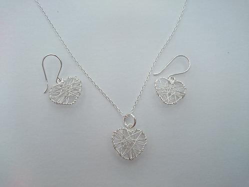 Silver Wire Heart Necklace & Earrings