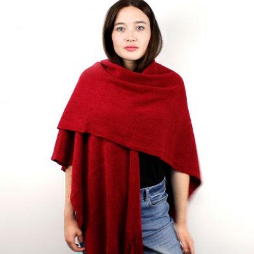 Dark Red Wide Winter Wrap (worn by model)