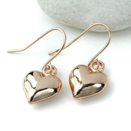 Gold Plated 'Puff' Heart Earrings