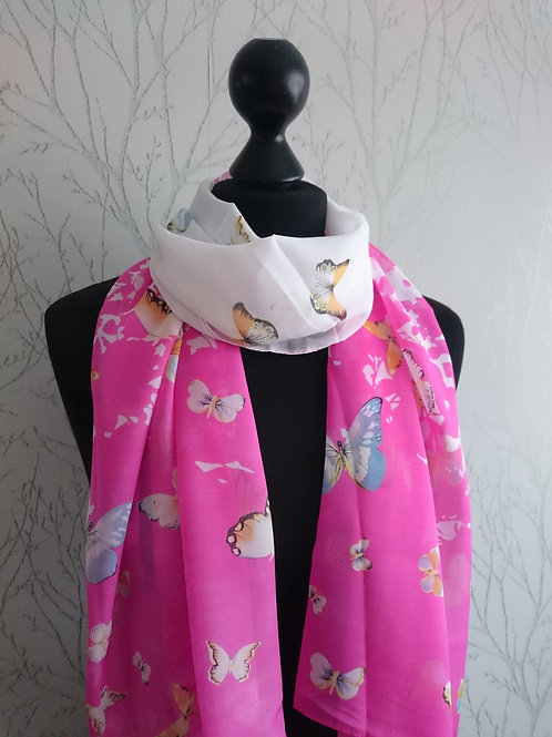 White Pink Butterfly Scarf