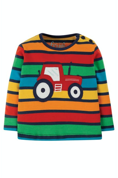 Frugi, Button Applique Top - Tractor Stripe Front