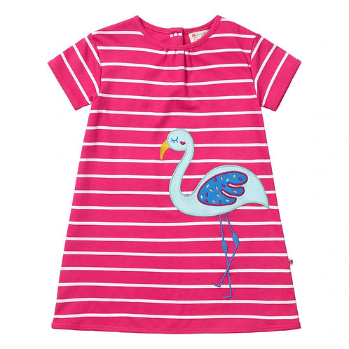 Piccalilly Pink Flamingo Striped Dress