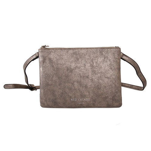 Metallic Gold Double Zipped Bag with Detachable Strap