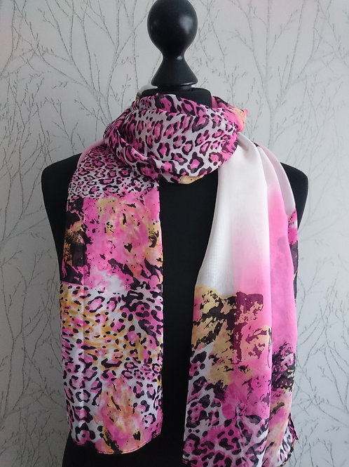Candy Pink Animal Print Scarf