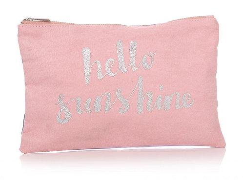Pink 'Hello Sunshine' Make Up Bag (Front)