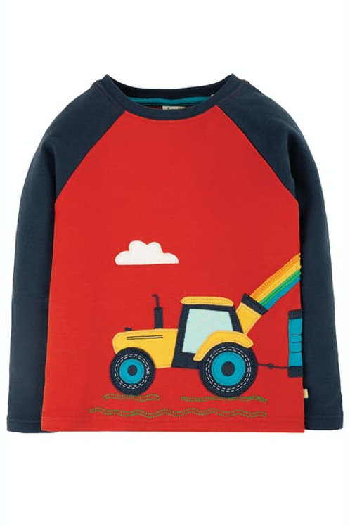 Albert Applique Top - Tractor, Front