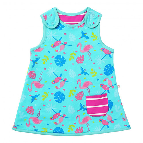 Piccalilly Organic Cotton Reversible Tropical Print Dress - Flamingo side