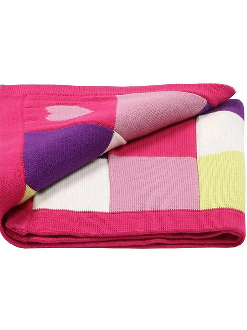 Girls Knitted Baby Blanket - Hearts
