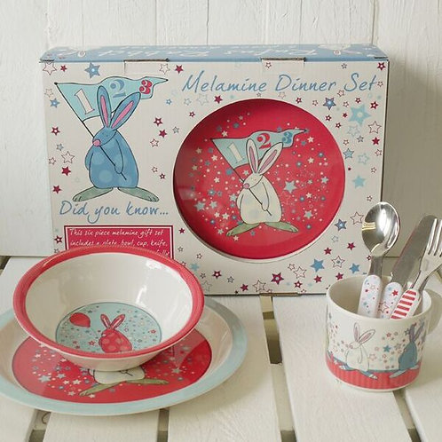 Rufus Rabbit 6 Piece Dinner Set - Boy (Box & Contents)