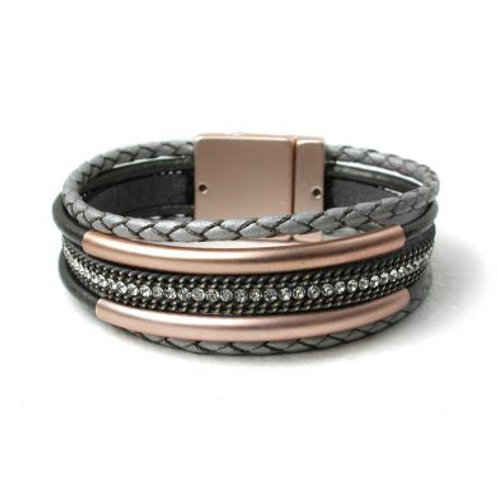 Grey Multi Strand Plaited Leather Rose Gold Bracelet