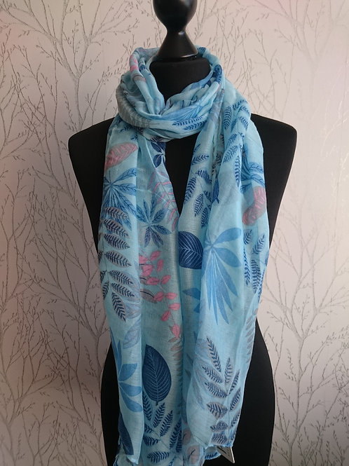 Blue Leaf Design Scarf
