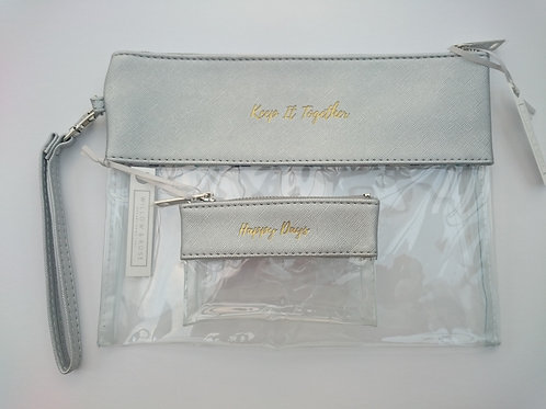 Silver/Clear Travel Pouch and Purse