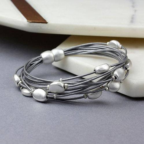 Grey Leather Silver Pebbles Bracelet