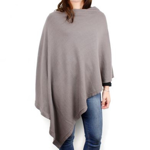 Taupe-Grey Cotton Knit Poncho