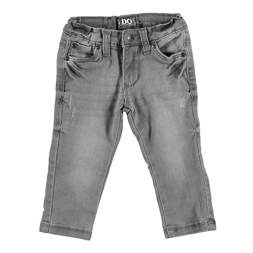 Slim Fit Trousers - Stone-washed Denim Effect (Front)