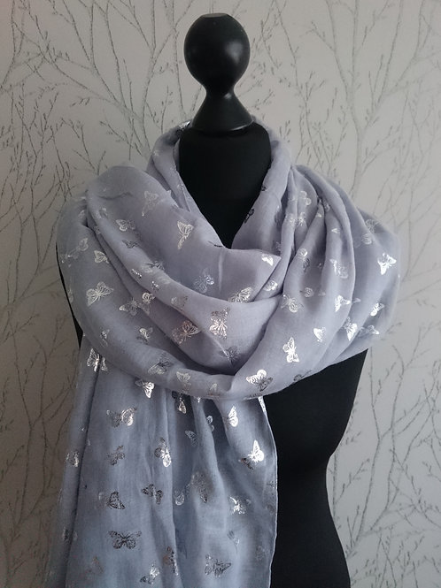 Foil Small Butterfly Scarf - Grey