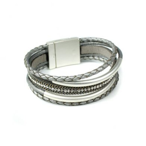 Grey Multi Strand Plaited Leather Bracelet