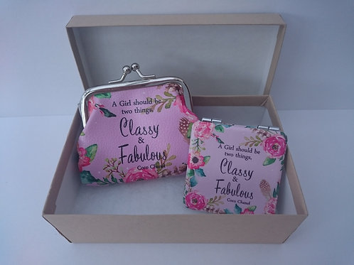 Fab & Flirty Coin Purse and Mini Mirror - 'Classy & Fabulous'