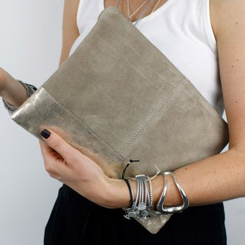 Sparkling, Taupe and Gold Metallic Clutch Bag