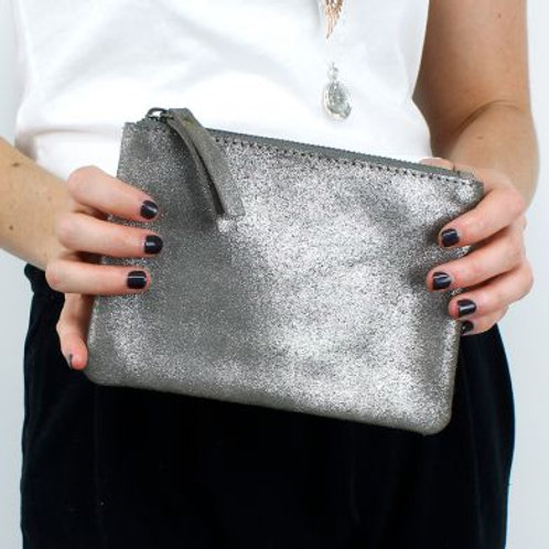 Metallic Pewter Suede Purse
