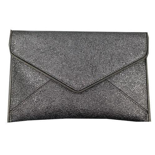 Silver zipped trim clutch bag with detachable strap