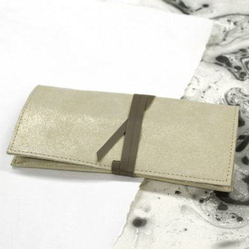 Gold Metallic Suede Clutch Bag