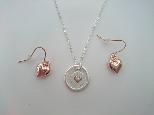 Silver Plated Matt Hoop And Heart Disc Necklace & Earrings