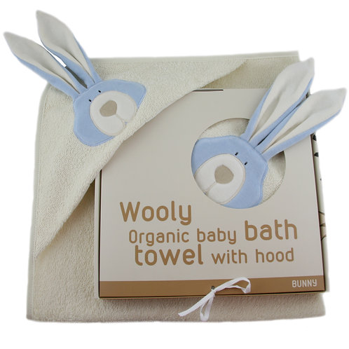 Wooly Organic Hooded Towel Bunny - Blue