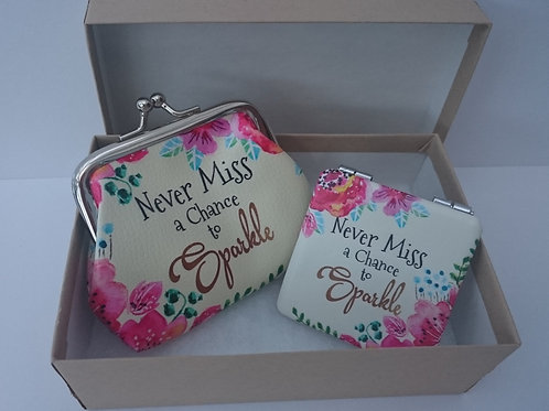 Fab & Flirty Coin Purse and Mini Mirror - 'Never miss a chance to Sparkle'