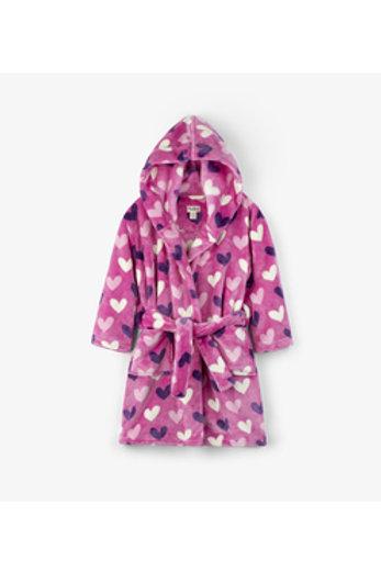 Multi Hearts Fleece Robe