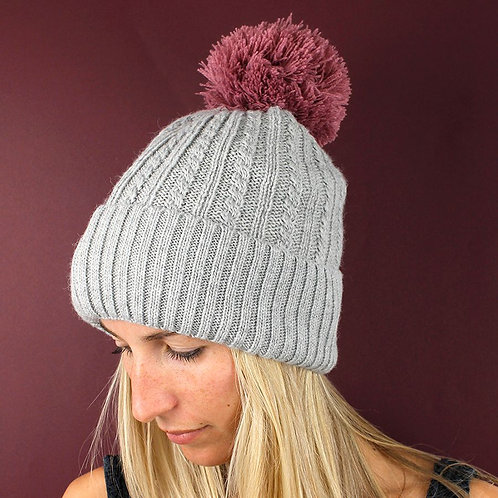 Grey Knit Hat With Pink Pom-Pom