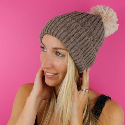Taupe Knit Hat With Natural Pom-Pom