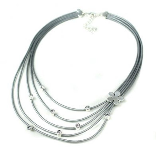 Grey Leather Flower Crystal Necklace