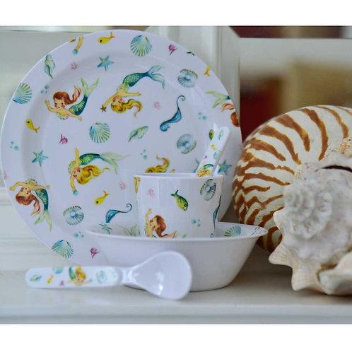 Toddlers Mermaid Print Dinner Set