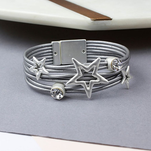 Grey Leather Silver Stars And Crystal Bracelet