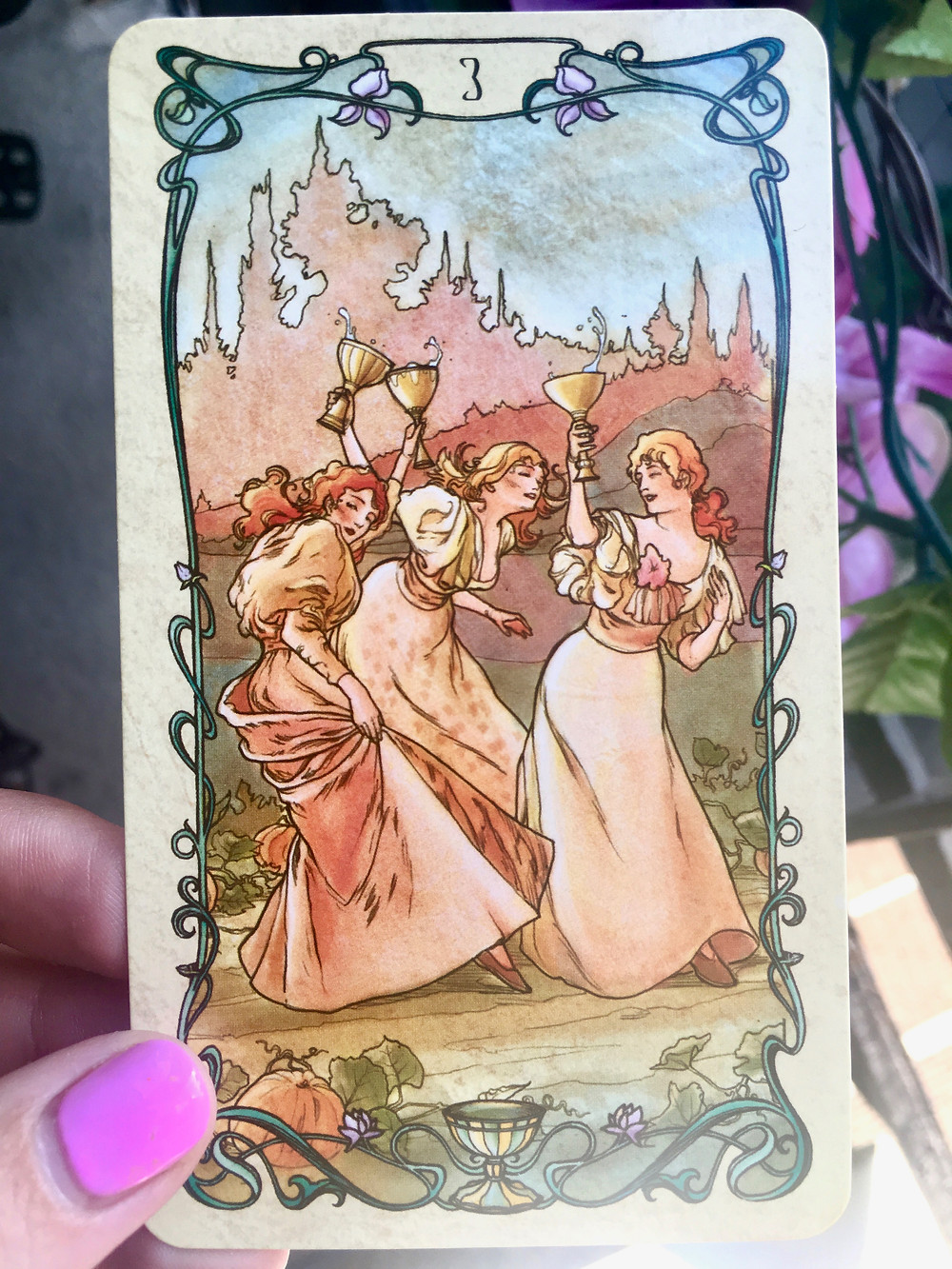 three of cups, Mucha Tarot deck - Celebration and Emotional Connection