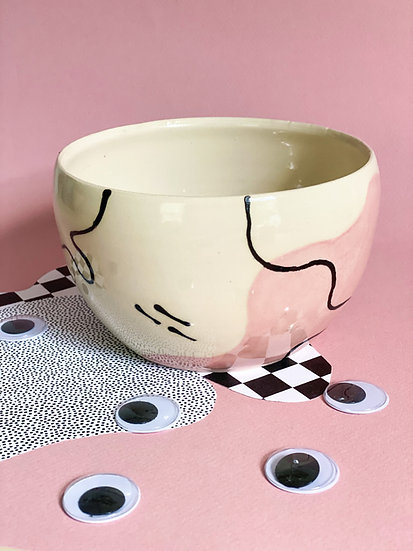 Pink Squiggle Cereal Bowl