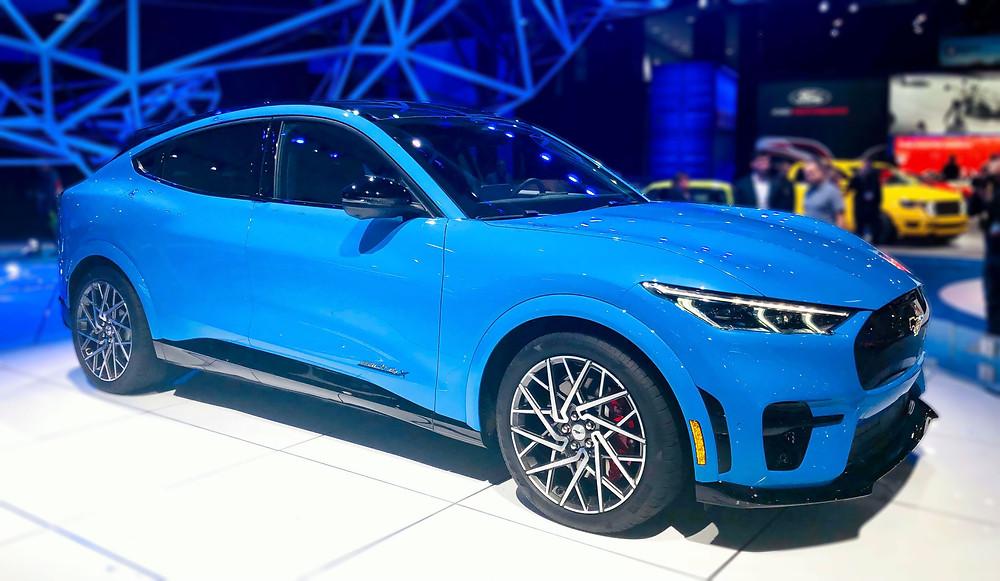 A blue Ford Mustang Mach-E GT
