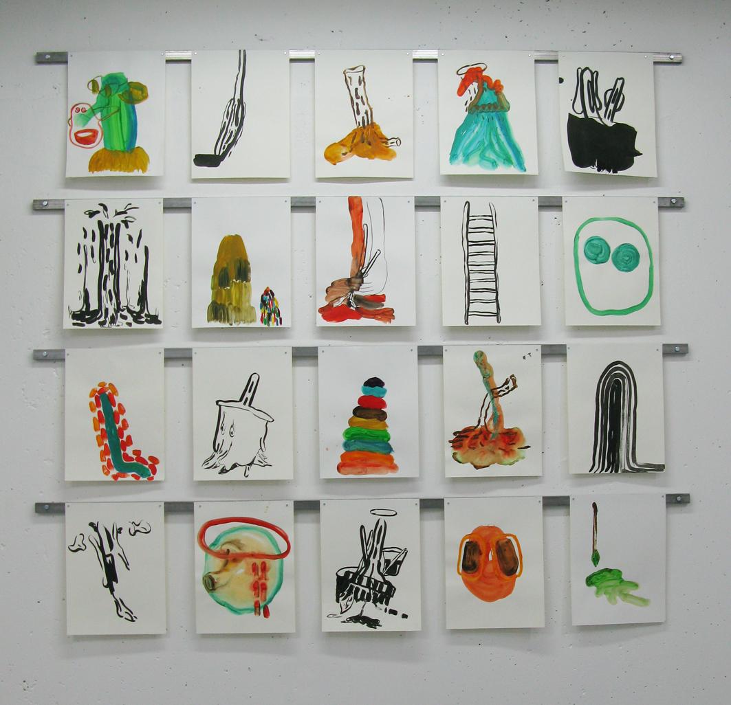 Installation pour la série de dessin