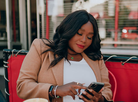 Black woman on mobile phone
