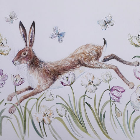 Hare and tulips