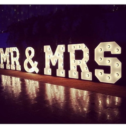 Great shot of our marquee letter lights MR & MRS lighting up the bridal table _kirribilliclub what a