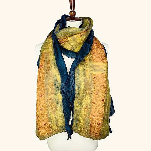 Navy Side Silk Collage Scarf by Pomegranate Moon