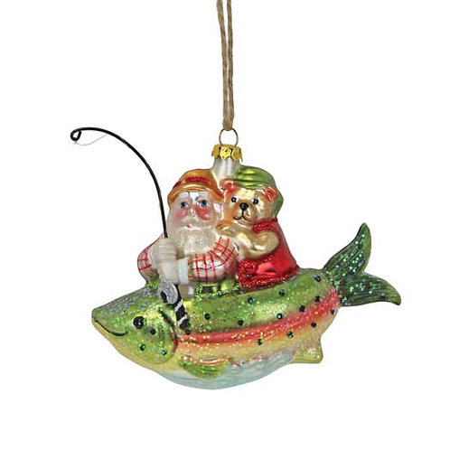 Santa on a Fish Ornament